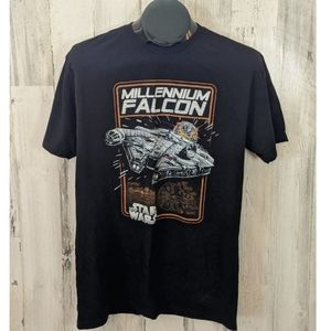 STAR WARS Black Millennium Falcon T-Shirt Large